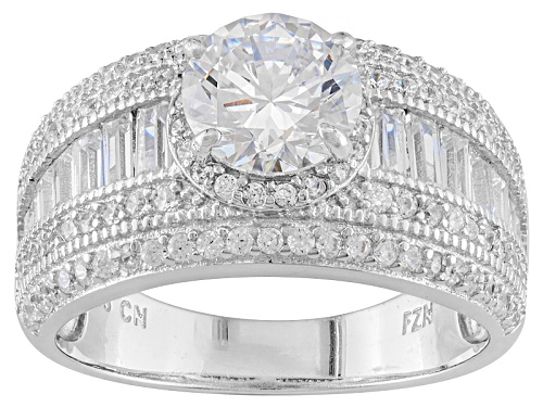 Photo of Bella Luce ® 3.24ctw Round & Baguette Rhodium Over Sterling Silver Ring (2.25ctw Dew) - Size 7