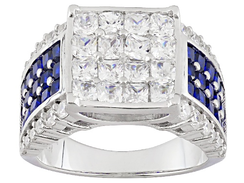 Photo of Bella Luce ® 6.86ctw Blue Sapphire And White Diamond Simulants Rhodium Over Sterling Silver Ring - Size 5