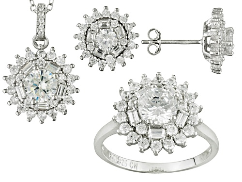 Photo of Bella Luce ® 7.64ctw Rhodium Over Sterling Silver Earrings, Ring, And Pendant With Chain Set