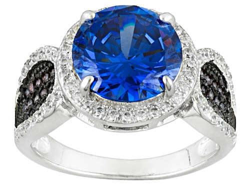 Photo of Bella Luce ®7.42ctw Tanzanite, Mocha,And White Diamond Simulants Rhodium Over Sterling Silver Ring - Size 5