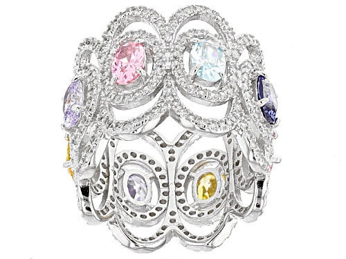 Photo of Bella Luce® 8.75ctw Multicolor Diamond Simulants Rhodium Over Sterling Silver Ring - Size 5