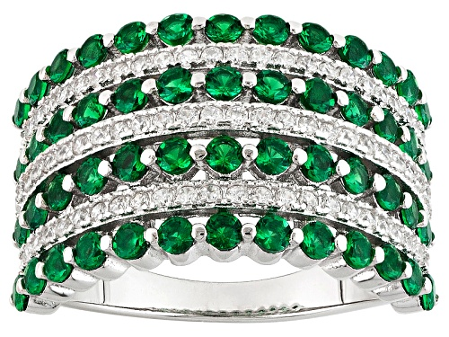 Photo of Bella Luce ® 2.21ctw Emerald And White Diamond Simulants Rhodium Over Sterling Silver Ring - Size 7