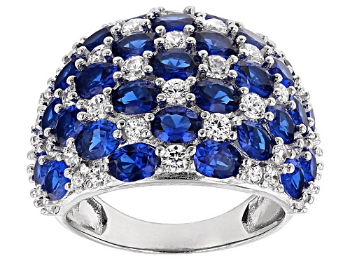 Photo of Bella Luce ® 11.66ctw Lab Blue Spinel And White Diamond Simulant Rhodium Over Sterling Silver Ring - Size 8