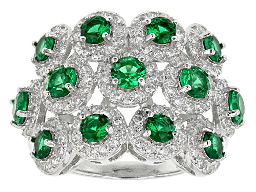 Photo of Bella Luce ® 3.07ctw Emerald And White Diamond Simulants Rhodium Over Sterling Silver Ring - Size 11