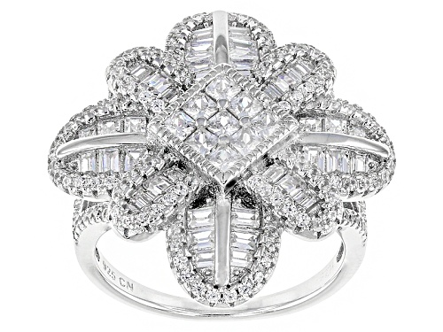 Bella Luce ® 3.93ctw Rhodium Over Sterling Silver Ring (2.34ctw Dew) - Size 6