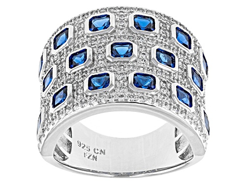 Photo of Bella Luce ® 3.88ctw Blue Sapphire And White Diamond Simulants Rhodium Over Sterling Silver Ring - Size 5