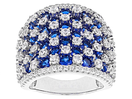 Photo of Bella Luce ® 6.14ctw Blue Sapphire And White Diamond Simulants Rhodium Over Sterling Silver Ring - Size 6