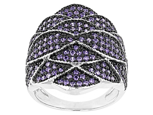 Photo of Bella Luce ® 1.55ctw Purple Diamond Simulant Black And White Rhodium Over Sterling Silver Ring - Size 6