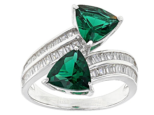 Photo of Bella Luce ® 4.10ctw Emerald And White Diamond Simulants Rhodium Over Sterling Silver Ring - Size 11
