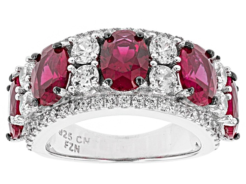 Photo of Bella Luce ® 5.89ctw Ruby And White Diamond Simulants Rhodium Over Sterling Silver Ring - Size 5