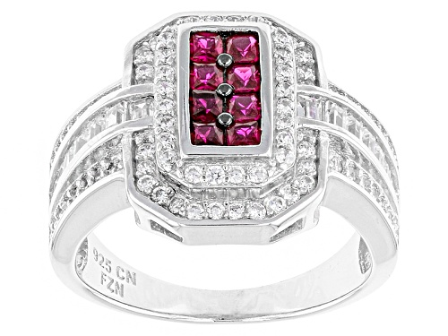 Photo of Bella Luce ® 1.95ctw Ruby And White Diamond Simulants Rhodium Over Sterling Silver Ring - Size 6