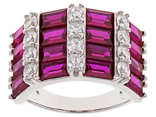 Photo of Bella Luce ® 6.1ctw Ruby And White Diamond Simulants Rhodium Over Sterling Silver Ring - Size 7