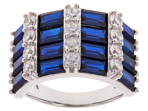 Photo of Bella Luce ® 6.1ctw Blue Sapphire And White Diamond Simulants Rhodium Over Sterling Silver Ring - Size 8