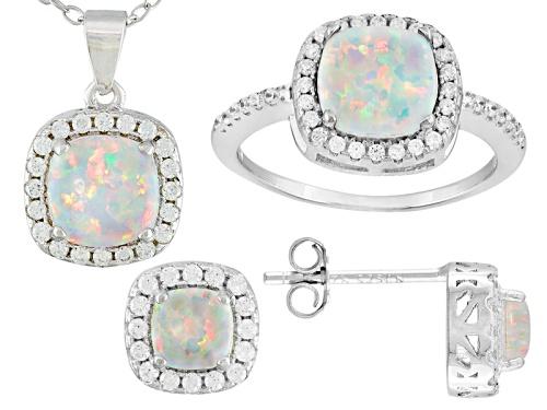 Photo of Bella Luce®1.58ctw Opal & White Diamond Simulants Rhodium Over Sterling Silver Jewelry Set