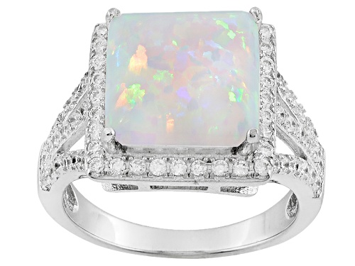 Photo of Bella Luce ® 2.34ctw Opal And White Diamond Simulants Rhodium Over Sterling Silver Ring - Size 5