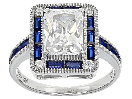 Photo of Bella Luce ® 5.84ctw Blue Sapphire And White Diamond Simulants Rhodium Over Sterling Silver Ring - Size 7