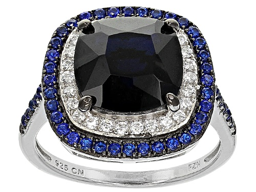 Photo of Bella Luce ®5.19ctw Blue Sapphire And White Diamond Simulants Rhodium Over Sterling Silver Ring - Size 7