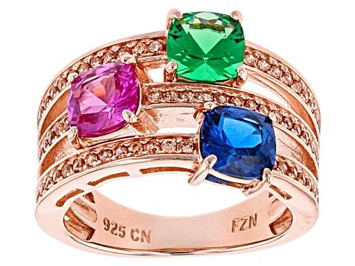Photo of Bella Luce ®3.68ctw Emerald, Ruby, Blue Sapp,& Champagne Diamond Simulants Eterno ™ Rose Ring - Size 11