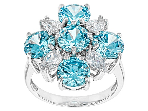 Photo of Bella Luce ® 8.41ctw Neon Apatite And White Diamond Simulants Rhodium Over Sterling Silver Ring - Size 10
