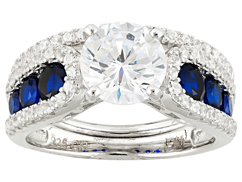 Photo of Bella Luce ®3.68ctw Blue Sapphire And White Diamond Simulants Rhodium Over Sterling Ring With Band - Size 11