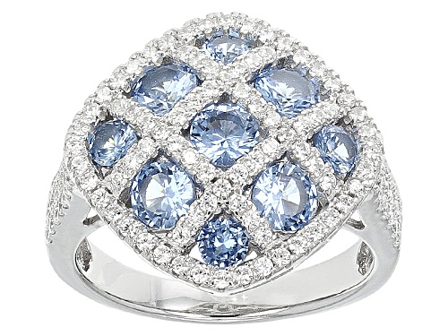 Photo of Bella Luce®3.83ctw Blue And White Diamond Simulants Rhodium Over Sterling Silver Ring(2.30ctw Dew) - Size 11