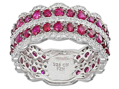Photo of Bella Luce ® 4.26ctw Ruby And White Diamond Simulants Rhodium Over Sterling Silver Ring - Size 5