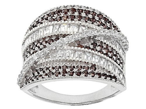 Photo of Bella Luce ® 2.89ctw Mocha And White Diamond Simulants Rhodium Over Sterling Silver Ring - Size 5