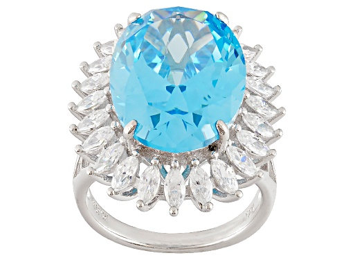 Photo of Bella Luce ® 24.20ctw Neon Apatite And White Diamond Simulants Rhodium Over Sterling Silver Ring - Size 5