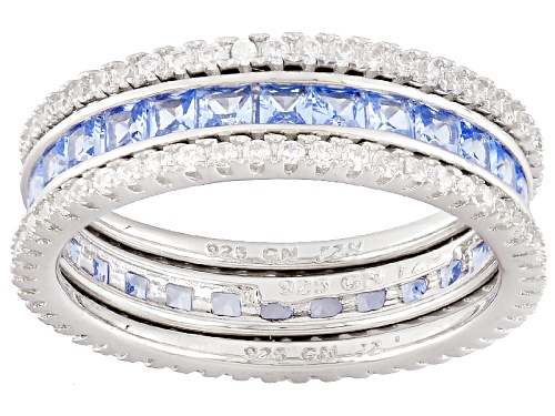 Photo of Bella Luce ® 2.48ctw Blue And White Diamond Simulants Rhodium Over Sterling Rings-Set Of 3 - Size 8