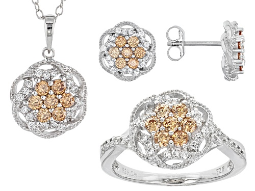 Photo of Bella Luce ® 2.71ctw Champagne And White Diamond Simulants Rhodium Over Sterlling Jewelry Set