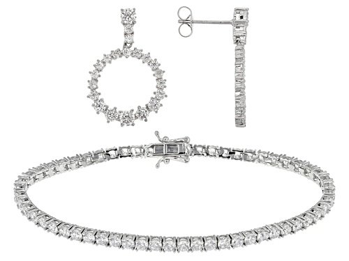 Photo of Bella Luce ® 14.08ctw Rhodium Over Sterling Silver Bracelet And Earrings (7.16ctw Dew)
