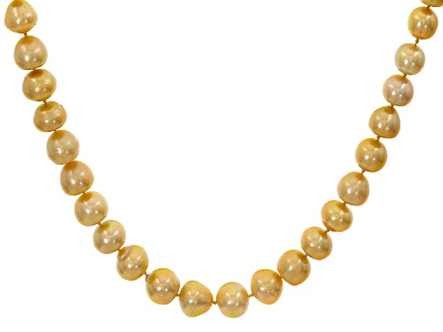 Photo of 10-14mm Golden Cultured South Sea Grande Pearl 14k White Gold 18 Inch Necklace - Size 18