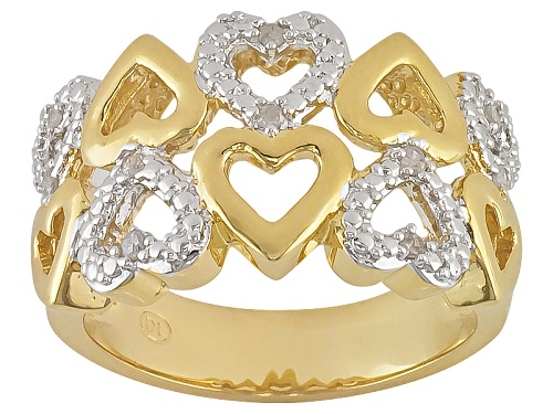 Photo of Emulous™ .10ctw Round Diamond 18k Yellow Gold Over Brass 2 Row Heart Ring - Size 6