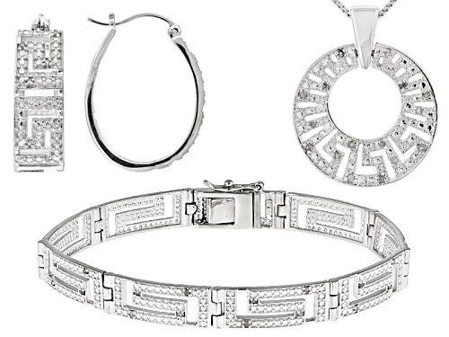 Photo of Emulous™ .24ctw Round White Diamond Rhodium Over Brass Earrings, Pendant And Bracelet Set