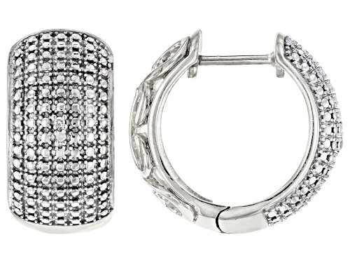 Photo of Emulous™ Round White Diamond Accent Rhodium Over Brass Hoop Earrings
