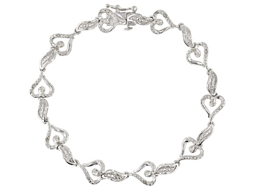 Photo of Emulous™ 0.20ctw Round White Diamond Rhodium Over Brass Heart Bracelet - Size 7.5