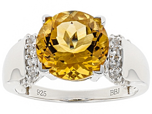 Photo of 2.78ct Round Citrine With .30ctw Round White Topaz Sterling Silver Ring - Size 12