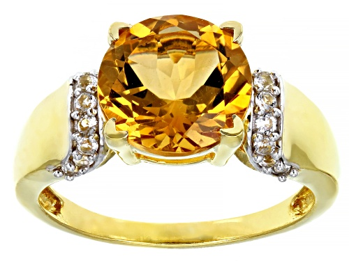 Photo of 3.42ct Round Brazilian Citrine & .30ctw white topaz 18k gold over silver ring - Size 7