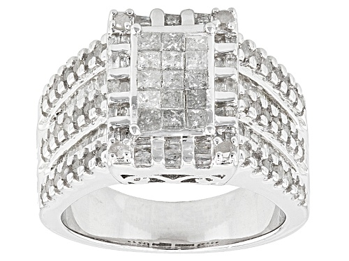Photo of 1.56ctw Princess Cut, Round, & Baguette Diamond Rhodium Over Sterling Silver Ring - Size 6