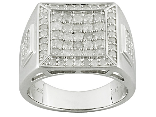 Photo of 1.33ctw Round Diamond Rhodium Over Sterling Silver Gents Ring - Size 11