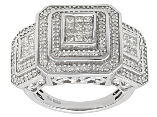 Photo of 1.00ctw Round And Princess Cut White Diamond Rhodium Over Sterling Silver Cluster Ring - Size 5