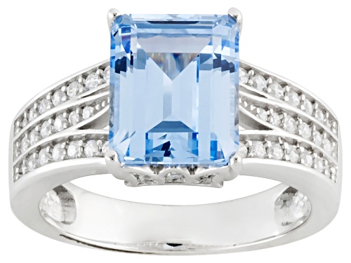 Photo of Bella Luce ® 4.80ctw Lab Blue Spinel & White Diamond Simulant Rhodium Over Sterling Silver Ring - Size 10