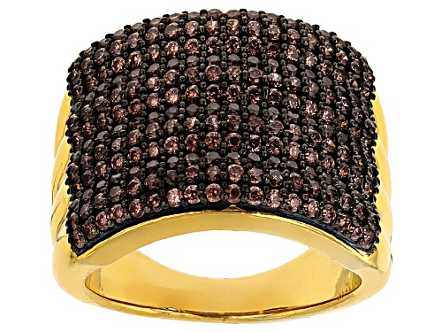 Photo of Bella Luce ® 2.46ctw Champagne Diamond Simulant Round Eterno ™ Yellow Ring (1.08ctw Dew) - Size 11
