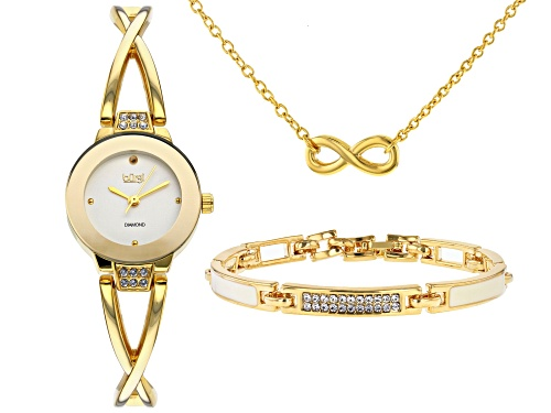 Photo of Burgi™ Crystals From Swarovski™ Gold Tone Stainless Steel Watch Gift Set