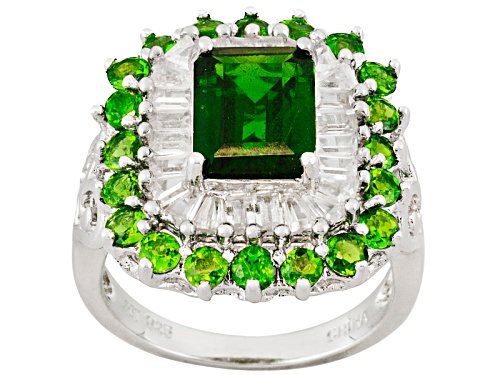 Photo of 3.87ctw Chrome Diopside With 1.66ctw White Zircon Sterling Silver Ring - Size 4