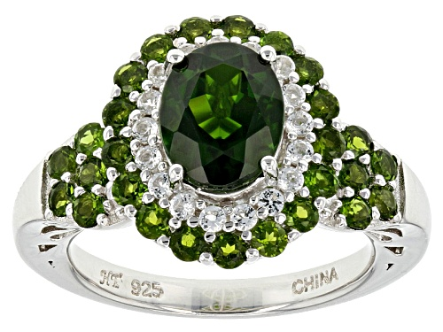 Photo of 3.08ctw Oval And Round Chrome Diopside With .29ctw Round White Topaz Sterling Silver Ring - Size 12