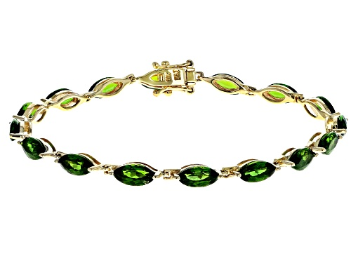 Photo of 8.98ctw Marquise Chrome Diopside 10k Yellow Gold Bracelet - Size 7.25