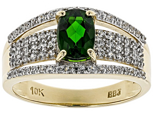 Photo of .65ct Rectangular Cushion Russian Chrome Diopside & .49ctw Round White Zircon 10k Yellow Gold Ring - Size 8