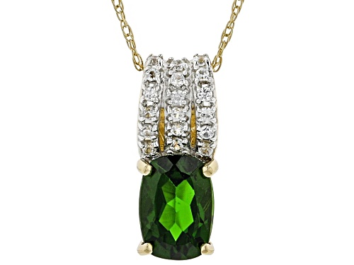 Photo of .65ct Russian Chrome Diopside With .12ctw Round White Zircon 10k Yellow Gold Pendant With Chain