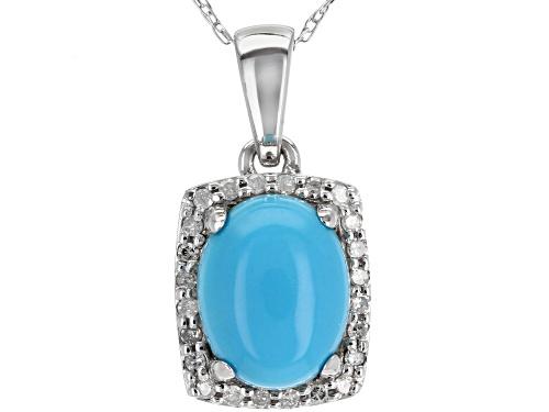 Photo of 9x7mm Sleeping Beauty Turquoise & .10ctw White Diamond Rhodium Over 10K White Gold Pendant W/Chain
